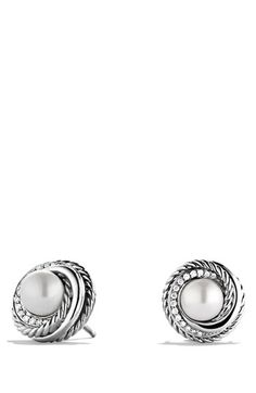 David Yurman 'Pearl Crossover' Earrings with Diamonds available at #Nordstrom