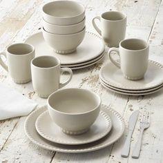 Better Homes And Gardens 16 Piece Stoneware Beaded Dinnerware Set Clay Beige