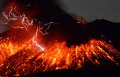 Japanese volcano Sakurajima Lets Out a Spectacular Eruption After Months of Quiet.  Lightning and Lava.  WOW