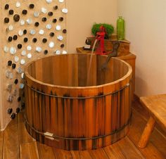 Modern Cedar Tub with water pump faucet by Wright-Built