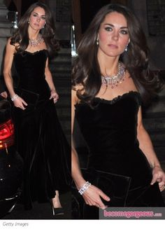 Duchess Kate in McQueen Black Velvet Gown. Do we get off the planet if we don't dress like this? lol