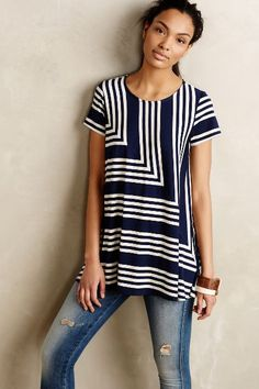 Angled Stripe Swing Top #anthrofave