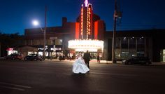 Eglinton Grand bride and groom at night Toronto, Boston, Groom, Things To Come, Marriage, Street View, Wedding Photography, Adventure, Bride