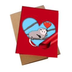 Possum Pun Valentine's Day CardFunny Cards by weareborntopun
