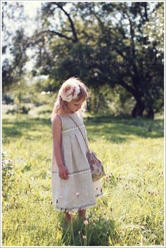 Long linen flower girl dress , sizes 0.5 - 5 year - Country style girl dress. $45.99, via Etsy.