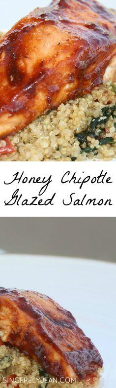 Honey Chipotle Glazed Salmon recipe - Inspirated by the cherry chipotle glazed salmon from BJ's restaurant.  It is delicious! www.sincerelyjean.com