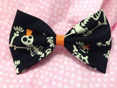 All Them Bones Skeleton Fabric Hair Bow