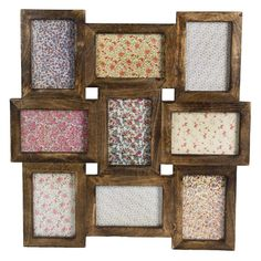 Collage Multi Photo Frame (965 MXN) ❤ liked on Polyvore featuring home, home decor, frames, wood picture frames, collage picture frames, wood frames, clip frames and wooden picture frames