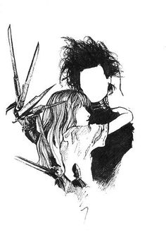 Edward Scissorhands, one of my favorite Tim Burton movies Estilo Tim Burton, Art Tim Burton, Tim Burton Stil, Tim Burton Kunst, Film Tim Burton, Tim Burton Artwork, Tim Burton Drawings Style, Tim Burton Sketches, Tim Burton Characters