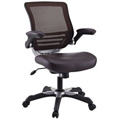 LexMod Edge Office Chair with Mesh Back and Brown Leatherette Seat