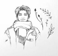 Good boy, big scarf and plant friends. Kpop Drawings, Pencil Art Drawings, Art Drawings Sketches, Sketch Drawing, Moon Drawing, Bts Chibi, Namjoon, Happy Late Birthday, Fanart Bts