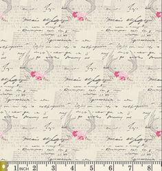 Modern Rustic Woodland Cotton Fabric, Antlers, Shabby Chic Art Gallery, Quilting Weight, Amorous Manuscript from Le Vintage Chic Capsules Cotton Quilting Fabric, Cotton Quilts, Fabric Art, Shabby Chic Art, Farmhouse Quilts, Baby Girl Bedding, Rosy Pink, Art Gallery Fabrics, New Energy