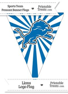 Detroit Lions Pennant Banner Flag from PrintableTreats.com