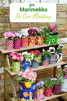 Create a riot of pattern and colour in your garden with some DIY Marimekko decorative tin can planters. This is a cheap and easy upcycle using paper napkin decoupage. #marimekko #tincans #planter