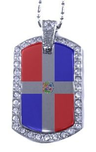 Dominican Republic Flag Symbol | Dominican Republic Flag Symbol | Dominican  Republic Flag Silver CZ .
