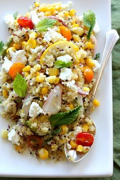 Quinoa with Roasted Corn, Zucchini and Mint, plus preserved lemon, cherry tomatoes and goat cheese