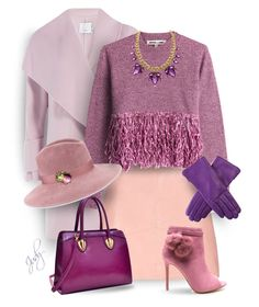 """""""Leather Skirt: Purple  Gloves"""" by judymjohnson ❤ liked on Polyvore featuring Vince, McQ by Alexander McQueen, Dasein and Gigi Burris Millinery"""