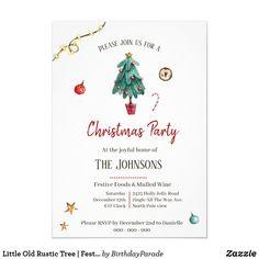 Little Old Rustic Tree | Festive Christmas Invitation Christmas Invitations, Jingle All The Way, Rustic Invitations, Food Festival, Rustic Christmas, Party Hats, Festive, Stationery, Xmas