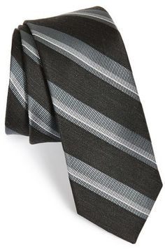$19, The Tie Bar Stripe Silk Blend Tie. Sold by Nordstrom. Click for more info: https://lookastic.com/men/shop_items/337438/redirect