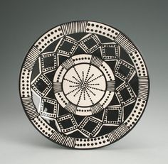 """Bohemian Mandala Plate Hand Painted Black and White - 8"""" Dinnerware"""