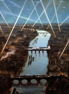 size: Giclee Print: Among London Searchlights by Christopher Richard Wynne Nevinson : Bingo Blitz, Art Eras, Irish Art, English Artists, Art Deco Era, London Art, Zeppelin, Gradient Color, Giclee Print