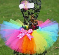 2017 Girls Rainbow Tutu Skirts Kids Handmade Tulle Pettiskirt with Polka Dots Bow and Flower Headband Baby Ballet dance Tutus