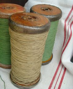 Vintage spools of colored twine from Brimfield