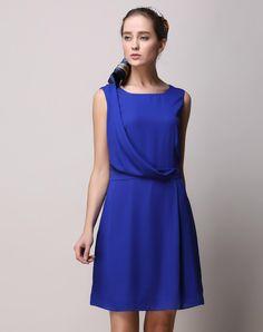 #AdoreWe #VIPme A-Line Dresses - SAINTY Blue Chiffon Sleeveless Fashion A-line Mini Dress - AdoreWe.com