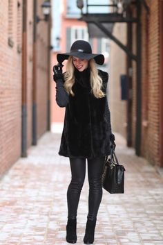 Sweet and beautiful Meggie! Blackout: vintage fur vest, black fur vest, black leather leggings, black wool floppy hat, monochromatic black outfit, suede ankle boots, all black outfit, how to style vintage fur