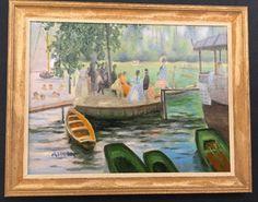 Beautiful artist made miniature oil painting La Grenouillere by E.W. Allen