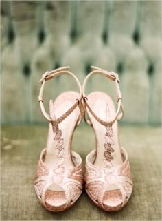 Wedding Shoes: We love sparkly pink high heels! | Photography by Elisa Bricker on Wedding Chicks - Loverly