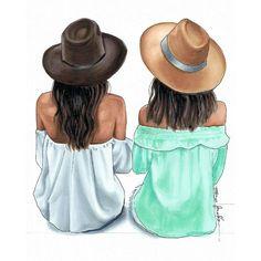 Este posibil ca imaginea să conţină: unul sau mai mulţi oameni şi pălărie Best Friend Drawings, Girl Drawing Sketches, Cute Girl Drawing, Girly Drawings, Friends Sketch, Best Friend Wallpaper, Girly M, Megan Hess, Best Friends Forever