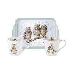 Pimpernel Wrendale 0,18 L Porzellan Becher & Melamin Tablett Set Owl Duck in Möbel & Wohnen, Kochen & Genießen, Gedeckter Tisch   eBay