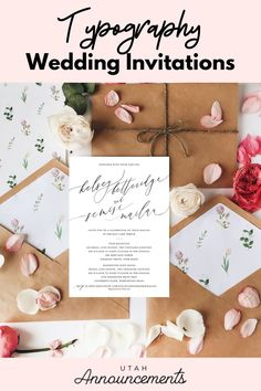 This wedding invitation design is simple yet stands out among the rest. The typography used for the couple's names gives it a unique touch. Wedding Invitation Trends, Typography Wedding Invitations, Simple Wedding Invitations, Announcement, Rest, Place Card Holders, Names, Touch, Classic