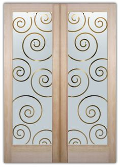 Swirls Etched Glass Front Doors Art Deco Design- provide privacy thru works of art in glass! Custom designs to suit your decor. Slab, prehung or glass only.