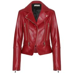 Balenciaga Leather Biker Jacket (22 680 SEK) ❤ liked on Polyvore featuring outerwear, jackets, coats, leather jackets, coats & jackets, red, leather moto jacket, red leather jacket, leather jacket and leather biker jacket