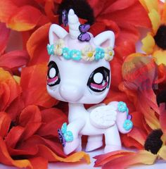 Littlest Pet Shop Unicorn ooak custom figure LPS Angel Pegasus Crown Flowers #Hasbro