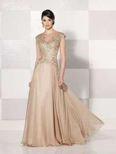 Cameron Blake 214686 Chiffon A-line dress with lace cap sleeves, hand-beaded lace and illusion bateau neckline over a sweetheart bodice with sheer lace back, bias-cut skirt with sweep train, suitable as an evening gown or for the guest of the wedding.