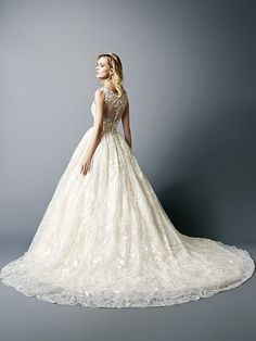 Val Stefani D8113 style MARA Swarovski beaded and lace ball gown wedding dress