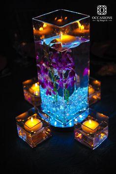 Creative DIY Wedding Centerpieces on a Budget – Floating Candles Wedding Table, Diy Wedding, Wedding Reception, Wedding Flowers, Dream Wedding, Wedding Ideas, Blue Orchid Wedding, Trendy Wedding, Purple Turquoise Weddings