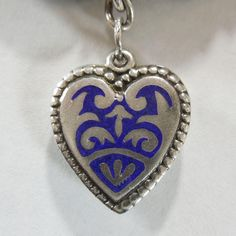 Sterling Silver Puffy Heart Charm with Cobalt Blue Champlevé   Enamel Design - Engraved 'T.J.'