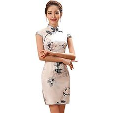 ea4759e05 YueLian Womens Summer Faux Silk Qipao Short Dress Chinese Modified Cheongsam  White 10 -- Want to know more, click on the image.