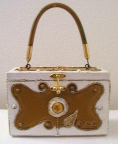 Sunflower scroll wooden box purse (papier mâché materials) - sold for $127