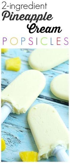 2 ingredient Pineapple Cream Popsicles recipe. (dairy-free) Nothing fake here! All natural and no sugar added! These healthy homemade popsicles are a perfect summer treat! We've been having these for dessert (no guilt here) all summer long. | Easy Healthy Homemade Popsicles @purefiji