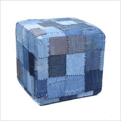 Hand Stitched Denim Ottoman 40 X Denim Rug, Denim Patchwork, Living Room Furniture Online, Furniture Decor, Recycle Jeans, Upcycle, Denim Ideas, Recycled Denim, Sewing Projects