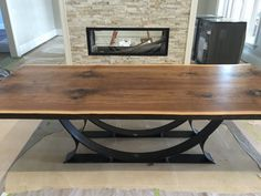 Live Edge Black Walnut dining table with half moon base - Live edge designs by Plank To Table Slab Table, Walnut Dining Table, Dining Room Table, Wood Table, Live Edge Tisch, Live Edge Table, Live Edge Furniture, Metal Furniture, Table Design