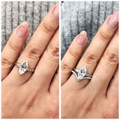 Platinum, Marquise (1.3 ct) with unique side baguette engagement ring! Matched with a V shaped diamond band! Gorgeous!!!