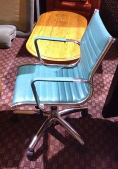Retro blue leather/chrome office chair by GLOBAL  was over $500 new.....bad ass chair!  I have two left for sale....