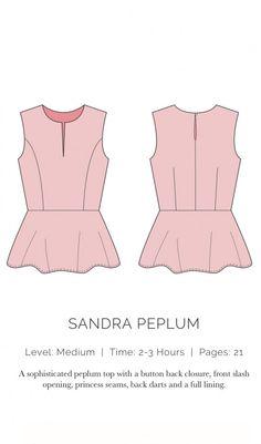 Oberteil Sandra Peplum, XS-XL