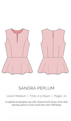 Peplum shirt pattern with button closure.  Will try this with my grey suede.